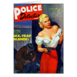 Retro Vintage Kitsch Pulp Women Police Detective Greeting Card