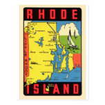 Retro Vintage Kitsch Rhode Island Rhody Decal Postcard