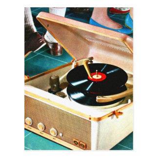 Retro Vintage Kitsch Rock & Roll Record Turntable Postcard