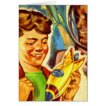 Retro Vintage Kitsch Rockets Outer Space Boy Greeting Card