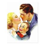 Retro Vintage Kitsch Romance Kiss Three's a Crowd Postcard
