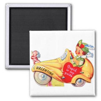 Retro Vintage Kitsch School Valentine Cupid Square Magnet