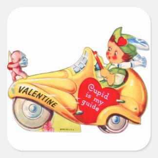 Retro Vintage Kitsch School Valentine Cupid Square Sticker