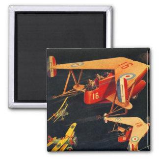 Retro Vintage Kitsch Sci Fi 30s Pulp Air Battle Magnet
