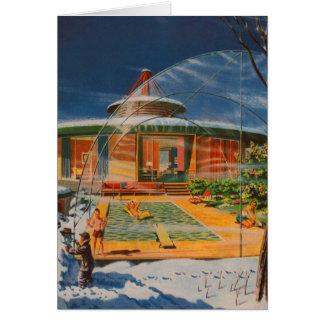 Retro Vintage Kitsch Sci Fi 60s Future Home Card