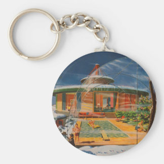 Retro Vintage Kitsch Sci Fi 60s Future Home Key Ring