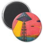 Retro Vintage Kitsch Sci Fi Canals of Mars Fridge Magnet