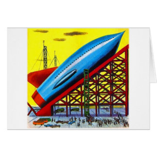 Retro Vintage Kitsch Sci Fi Cartoon Rocket Ship Card
