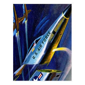 Retro Vintage Kitsch Sci Fi Detachable Cockpit Jet Postcard