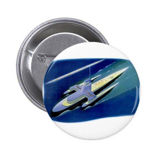 Retro Vintage Kitsch Sci Fi Future Ocean Liner Pins