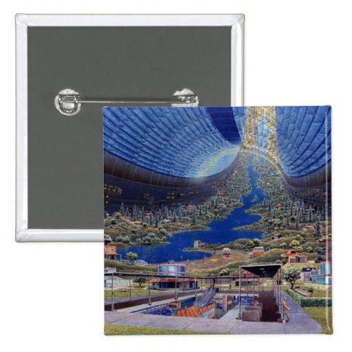 Retro Vintage Kitsch Sci Fi Future Space Colonies Pins