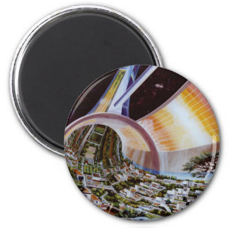 Retro Vintage Kitsch Sci Fi Future Space Colonies Magnets
