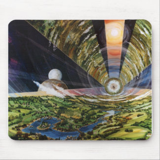Retro Vintage Kitsch Sci Fi Future Space Colonies Mouse Pad