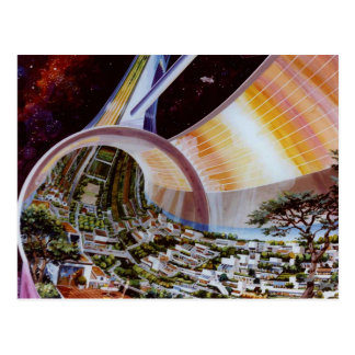 Retro Vintage Kitsch Sci Fi Future Space Colonies Postcard