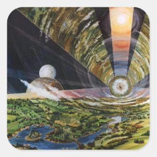 Retro Vintage Kitsch Sci Fi Future Space Colonies Square Sticker