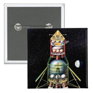 Retro Vintage Kitsch Sci Fi Lunar Module Pinback Button
