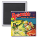 Retro Vintage Kitsch Sci Fi Pulp Fantastic Mag Square Magnet