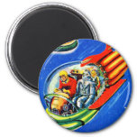 Retro Vintage Kitsch Sci Fi Space Travel Spaceship 6 Cm Round Magnet
