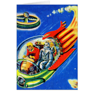 Retro Vintage Kitsch Sci Fi Space Travel Spaceship Greeting Card