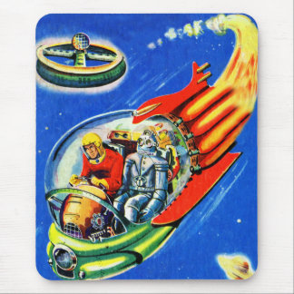 Retro Vintage Kitsch Sci Fi Space Travel Spaceship Mouse Pad