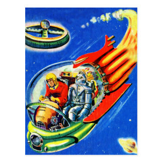 Retro Vintage Kitsch Sci Fi Space Travel Spaceship Postcard