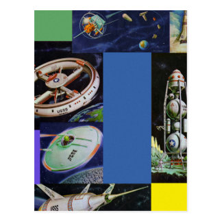 Retro Vintage Kitsch Sci Fi Space Vehicles UFOs Postcard