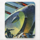 Retro Vintage Kitsch Sci Fi WWI Super Tank Mouse Pad