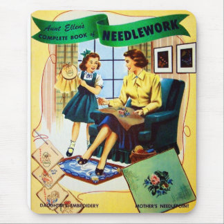 Retro Vintage Kitsch Sewing Needlepoint Needlework Mouse Pad