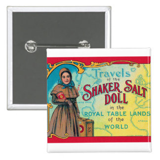 Retro Vintage Kitsch Shaker Salt Doll Advert 15 Cm Square Badge