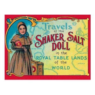 Retro Vintage Kitsch Shaker Salt Doll Advert Postcard