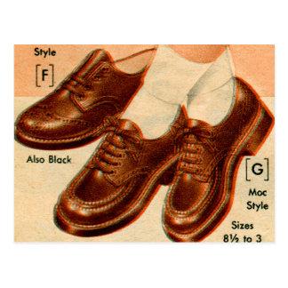 Retro Vintage Kitsch Shoe Kid s Shoes Catalog Art Post Card