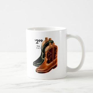 Retro Vintage Kitsch Shoes Kid s Cowboy Boots Art Coffee Mug