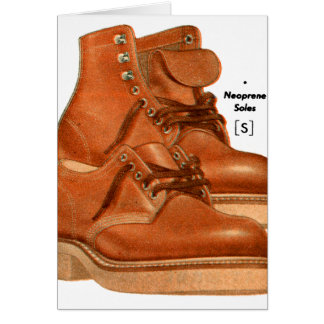Retro Vintage Kitsch Shoes Men s Boots Neoprene Greeting Card