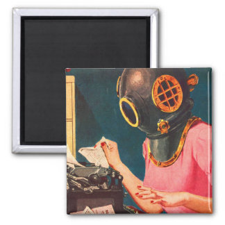 Retro Vintage Kitsch Strange Dive Helmet Secretary Magnet