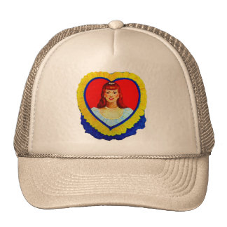 Retro Vintage Kitsch Sweetheart Love Heart Girl Trucker Hat