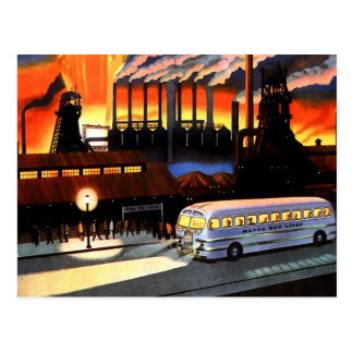 Retro Vintage Kitsch the Bus and American Industry Postcards