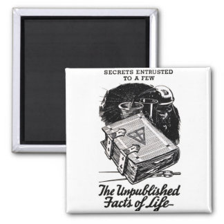 Retro Vintage Kitsch The Unpublished Facts of Life Square Magnet