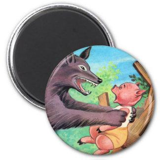 Retro Vintage Kitsch Three Little Pigs & Wolf 6 Cm Round Magnet