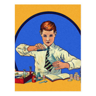 Retro Vintage Kitsch Toy Science Kit Illustration Postcard