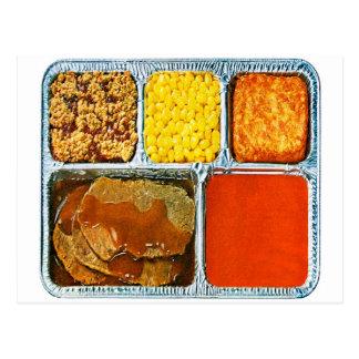 Retro Vintage Kitsch TV Dinner Beef & Tomato Soup Postcard