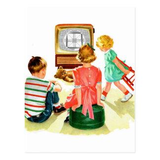 Retro Vintage Kitsch TV Television Kids Postcard