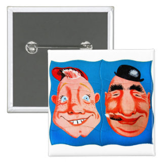 Retro Vintage Kitsch Two Goofy Hapy Face Puzzle 15 Cm Square Badge