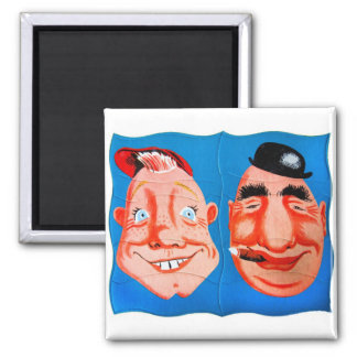 Retro Vintage Kitsch Two Goofy Hapy Face Puzzle Square Magnet