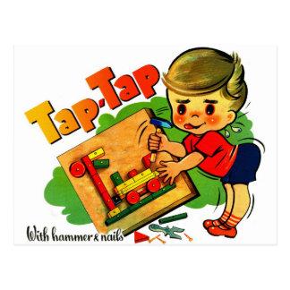 Retro Vintage Kitsch UK Tap-Tap Toy Kit Postcard