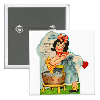Retro Vintage Kitsch Valentine Worked Up A Fancy 15 Cm Square Badge