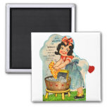 Retro Vintage Kitsch Valentine Worked Up A Fancy Square Magnet