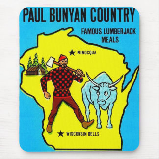 Retro Vintage Kitsch Wisconsin Paul Bunyan Decal Mouse Pad