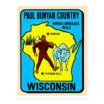 Retro Vintage Kitsch Wisconsin Paul Bunyan Decal Postcard