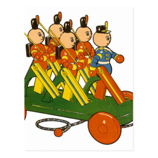 Retro Vintage Kitsch Wooden Toy Ted Toy Soldiers Postcard
