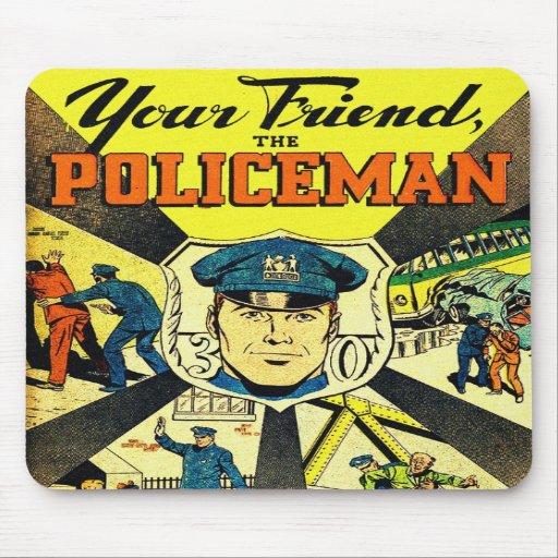 Retro Vintage Kitsch Your Friend The Policeman Mousepad